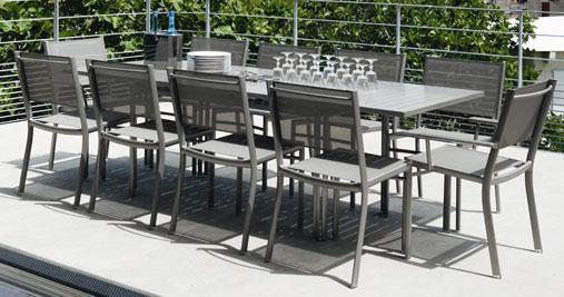 Table à allonge Costa, table de jardin, table jardin 10 places