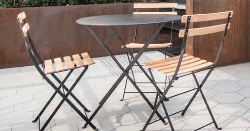 Bistro round table 77 cm metal table outdoor furniture - Table bistro jardin ...