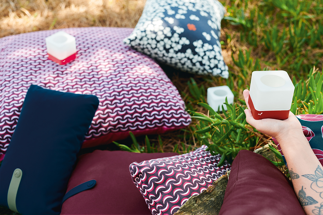 coussin de jardin, coussin fermob, photophore design, outdoor cushion