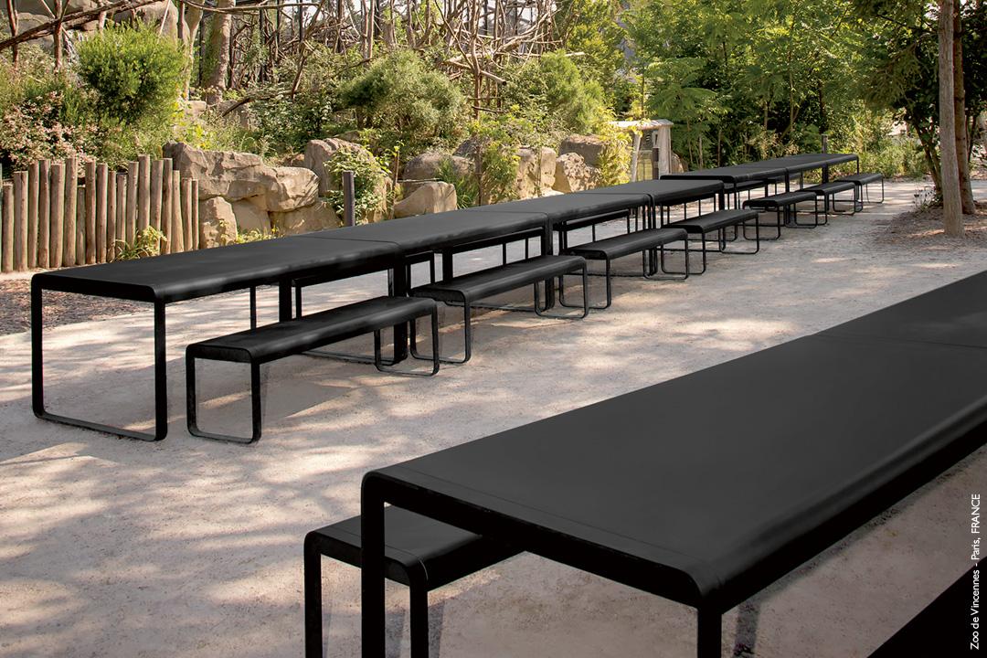 banc metal, table metal, mobilier d exterieur