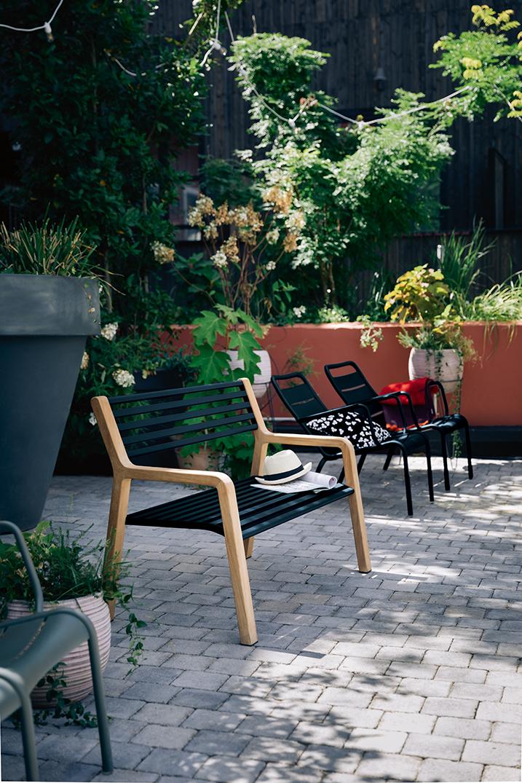 banc metal, banc design, banc de jardin