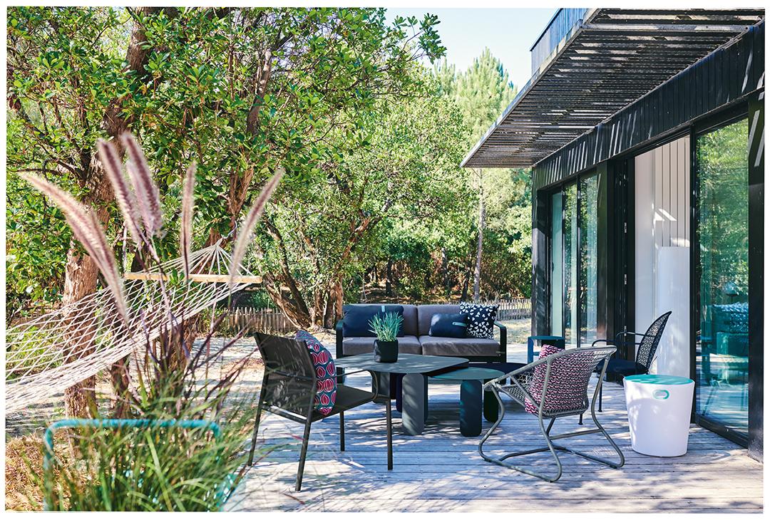 lounge, salon de jardin, metal, exterieur, table basse, canapé, fauteuil bas