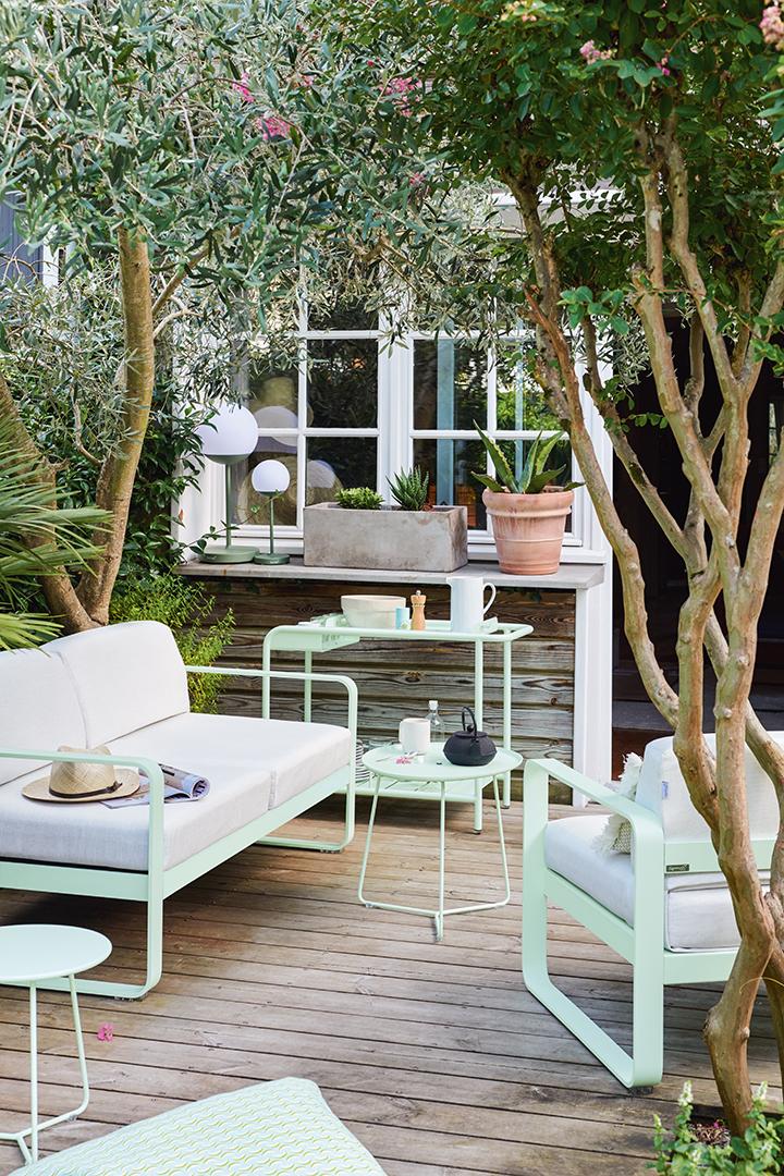 lounge, salon de jardin, metal, mobilier d exterieur, table basse, canapé,  fauteuil, table d appoint, table basse, desserte, bar roulant