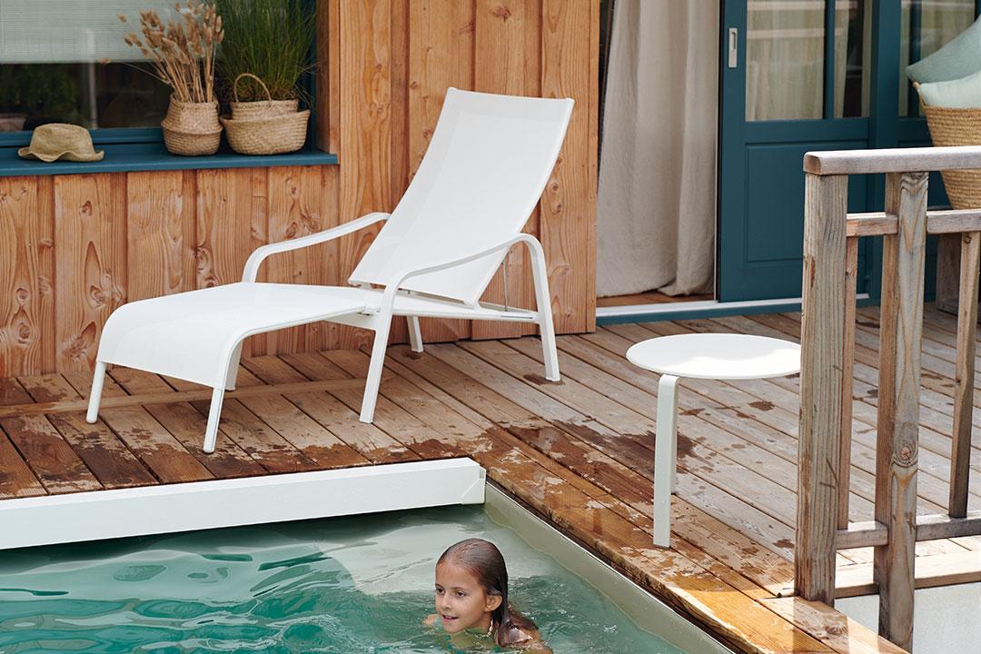 fauteuil et repose pied, fermob, chaise longue, fauteuil en toile, chaise longue toile