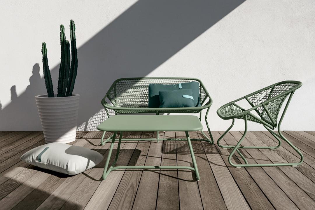 salon de jardin, fauteuil de jardin, table basse metal