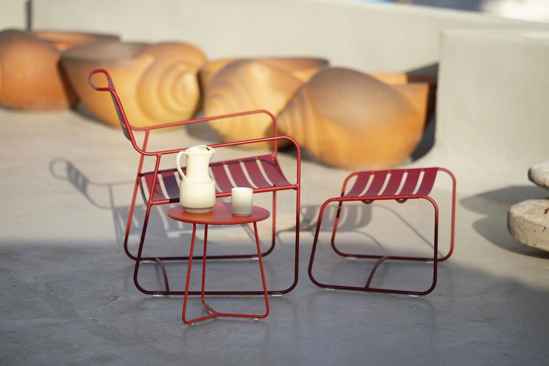 fauteuil de jardin, fauteuil metal, fauteuil et repose pied, repose pied metal