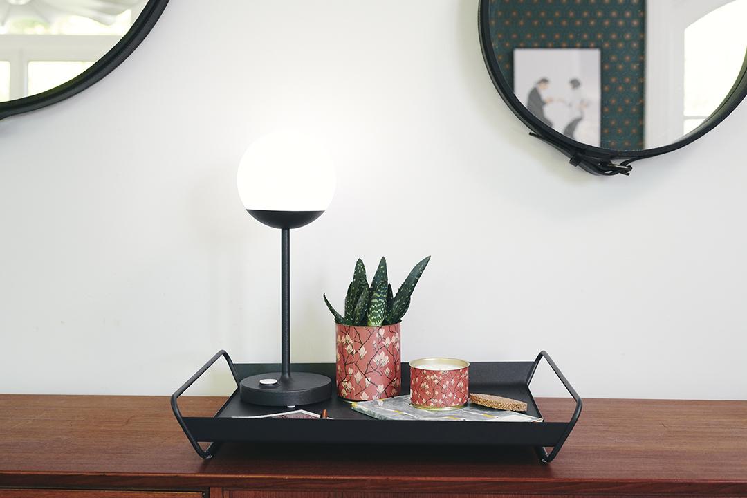 plateau de service, plateau table, lampe sans fil, lampe fermob, plateau fermob, metal tray, plateau design