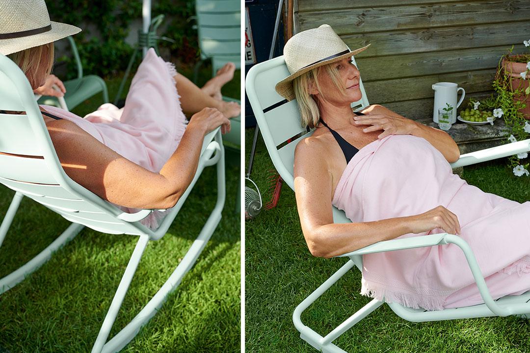 rocking-chair metal, rocking chair jardin, mobilier terrasse, mobilier de jardin, fouta, serviette de plage