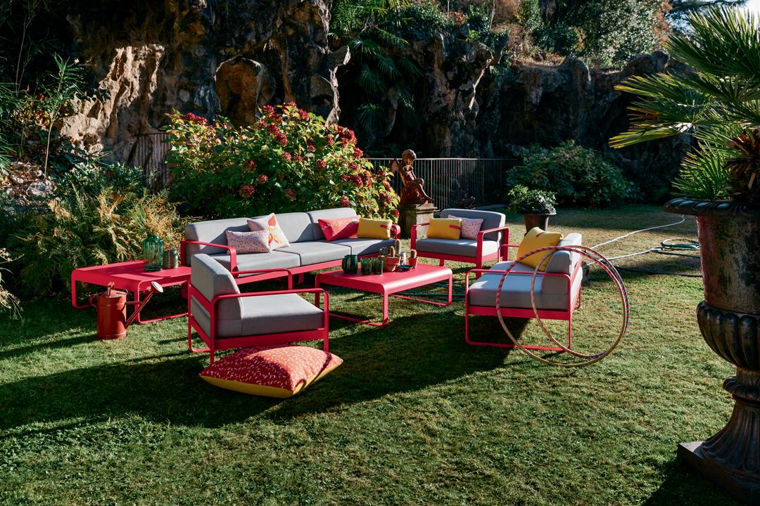 canape de jardin, fauteuil de jardin, table basse metal