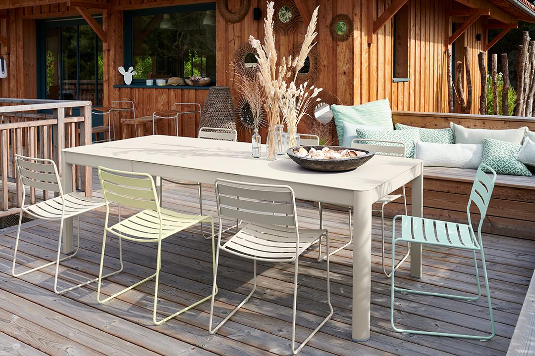 table de jardin, table metal, table 10 personnes, table de jardin a rallonge, table allonge, chaise metal