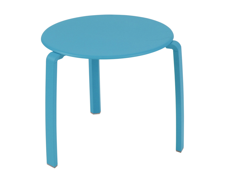 Table basse aliz fermob design ronde en m tal et en couleurs - Table basse bleu ...