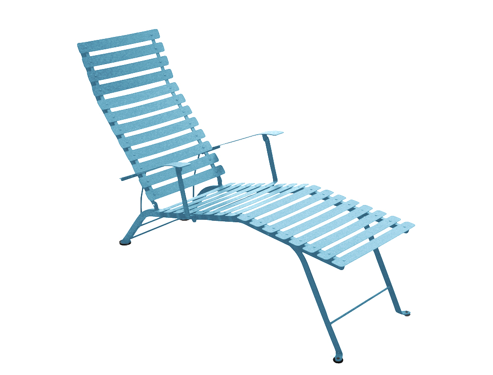 Fermob bistro colourful designer folding metal chaise longue for Chaise longue design piscine