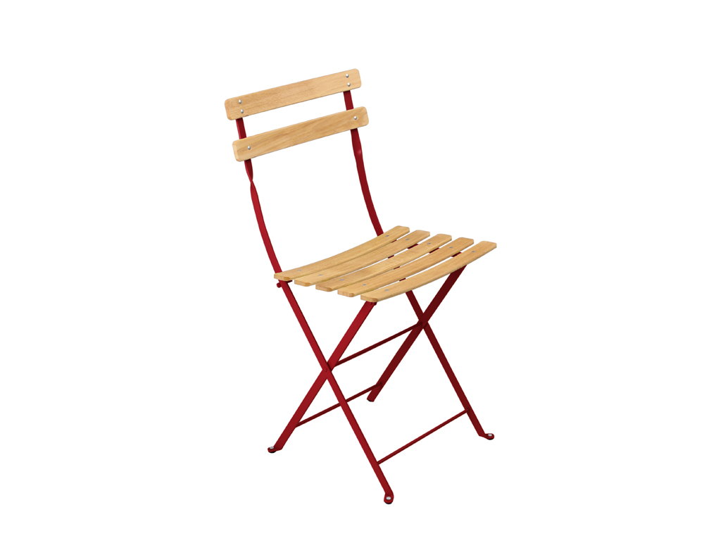 Fermob bistro folding garden chair natural and colour for Chaise bistro fermob