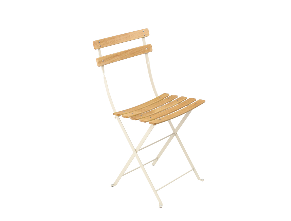 Fermob bistro folding garden chair natural and colour wood and steel - Chaise de jardin solide ...