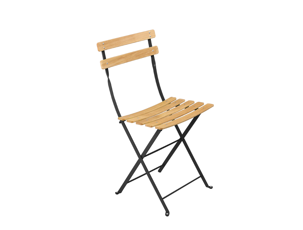Fermob Bistro Folding Garden Chair Natural And Colour Wood And Steel