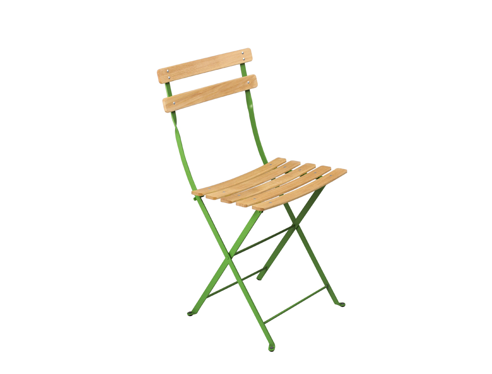 Fermob bistro folding garden chair natural and colour wood and steel - Chaise fermob luxembourg ...