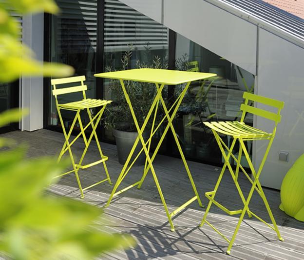 Table haute bistro fermob pliante pour l 39 ext rieur en fer for Table exterieur pliante fer