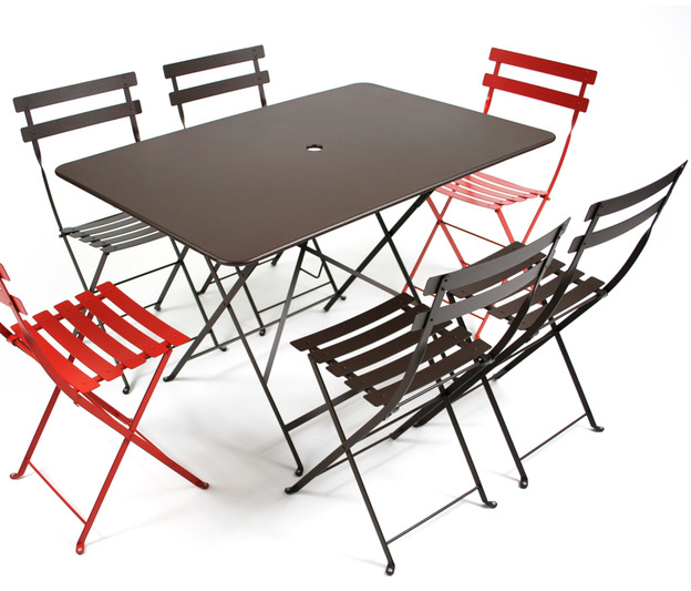 Grande table bistro fermob pliante color e et en m tal for Peinture table de jardin metal