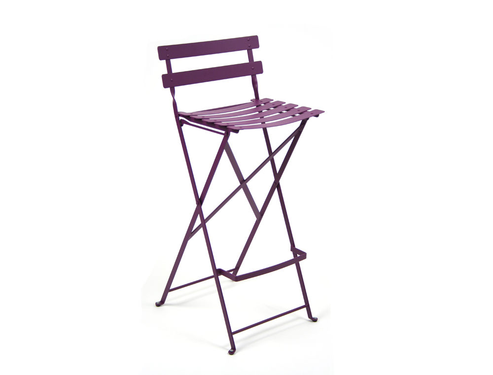 Fermob bistro high stool colourful steel design for the patio - Tabouret bar aubergine ...