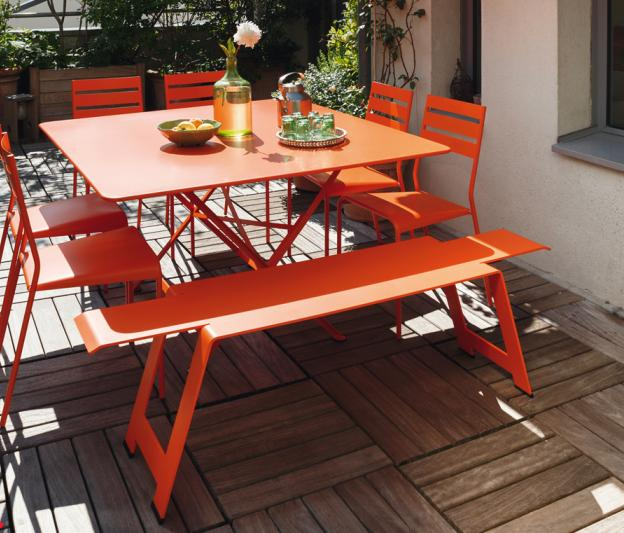 fermob cargo colourful designer metal table for 8 people