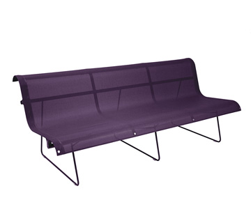 Bench 3 persons Ellipse Aubergine